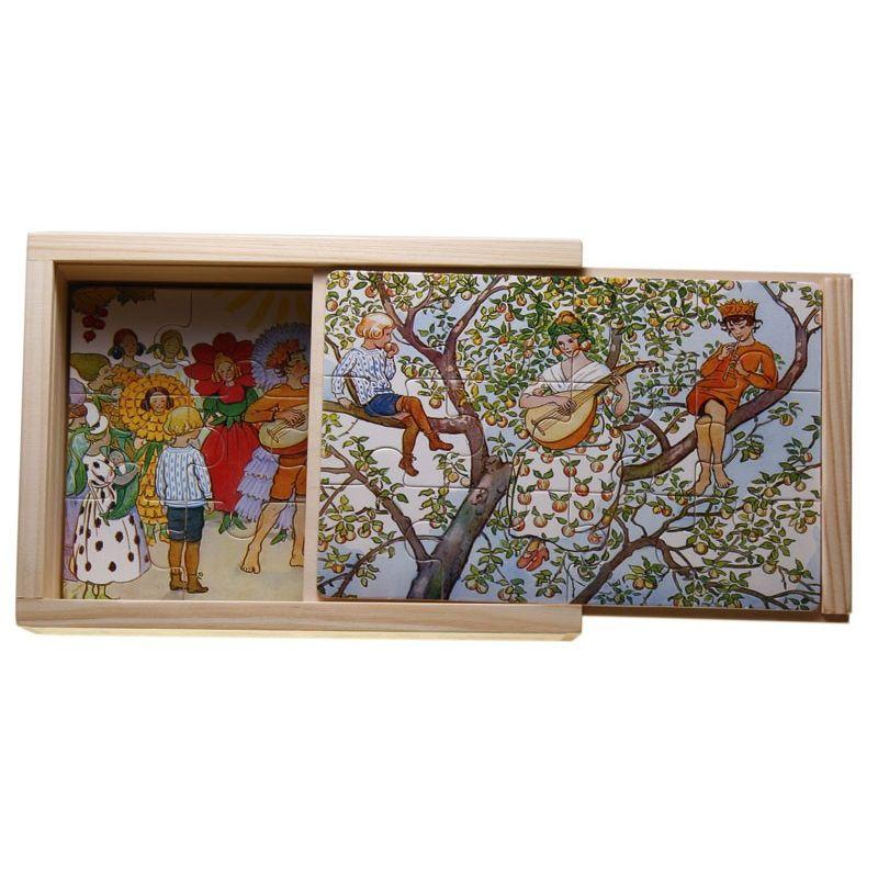 Beskow 4 x träpussel - Blommor