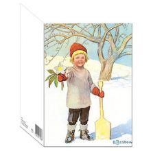 Julrosen - dubbelt kort med kuvert