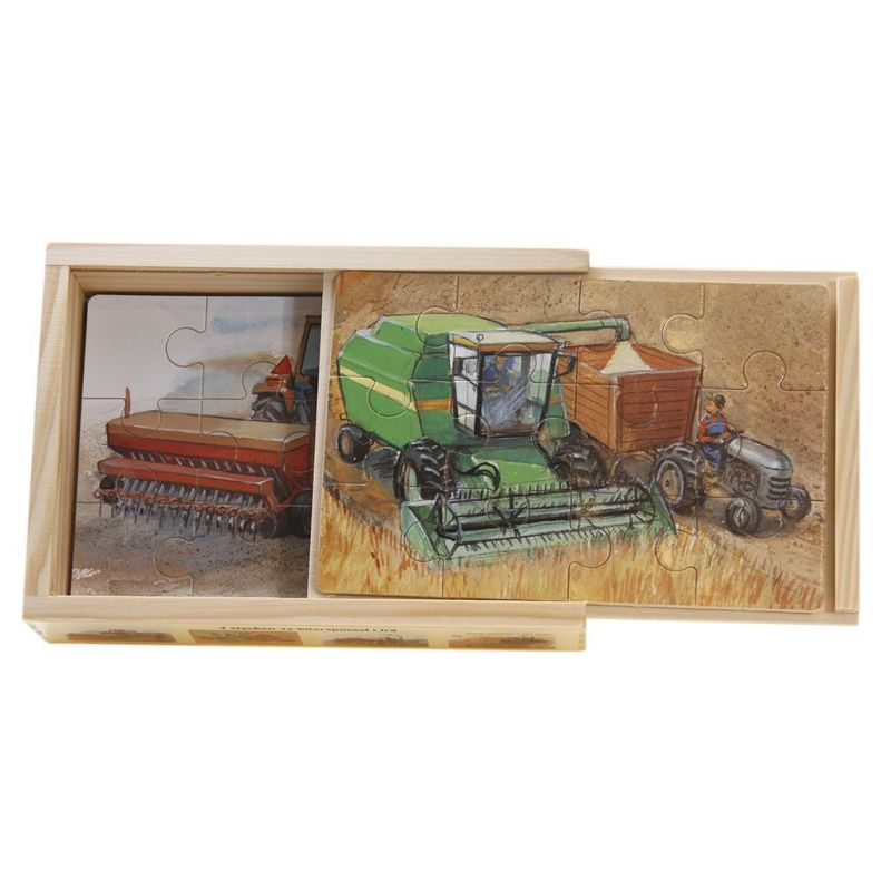 Mulle Meck 4 x träpussel, jordbruksmaskiner