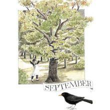September - Linneas månadsbilder  - Vykort