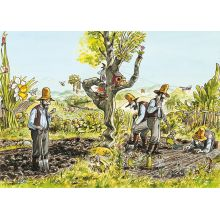 Affisch med motiv ur Pettsons Kackel i grönsakslandet
